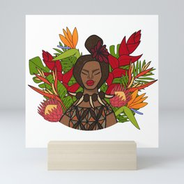 UrbanNesian Floral Samoan Queen Mini Art Print