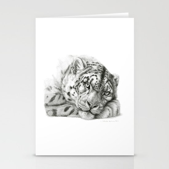 Pensive Snow Leopard G2011-011 Stationery Cards