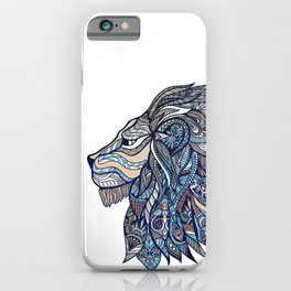 Colorful ornate lion head iPhone Case