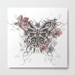 Beautiful filigree butterfly with flowers Metal Print