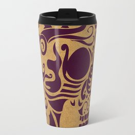 Mexican Skull Cornsilk Purple Travel Mug