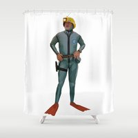 the life aquatic Shower Curtains featuring Life Aquatic with Steve Zissou by LaRochelle Designs
