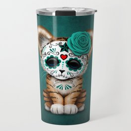 Blue Day of the Dead Sugar Skull Tiger Cub Travel Mug