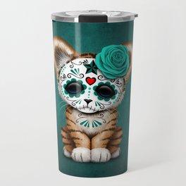Blue Day of the Dead Sugar Skull Tiger Cub Travel Mug
