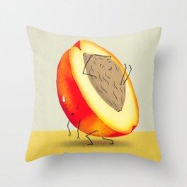 Lazy Peach Pit Throw Pillow