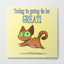 Optimistic Cat Metal Print