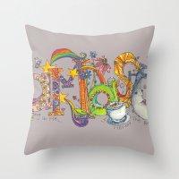 namaste Throw Pillows featuring Namaste by Aubree Eisenwinter
