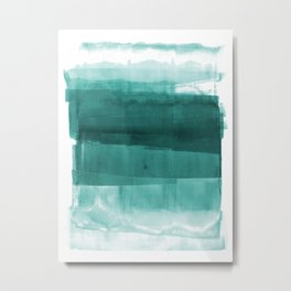 Turquoise and White Layered Abstract Painting Metal Print