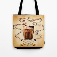 cigarettes Tote Bags featuring Cigarettes and Chocolate Milk by Brittany W-Smith