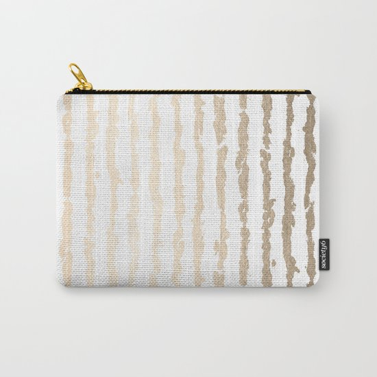 White Gold Sands Vertical Ink Stripes Carry-All Pouch