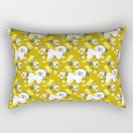 Bichon Frise on Yellow Rose Floral Autumn Gold Rectangular Pillow