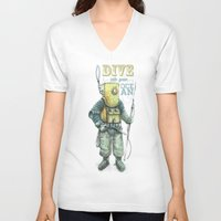 diver V-neck T-shirts featuring Diver by pakowacz