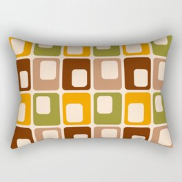 Retro 70s rounded capsules check orange brown geometrics Rectangular Pillow