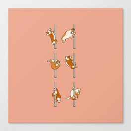 Corgi Pole Dancing Club Canvas Print