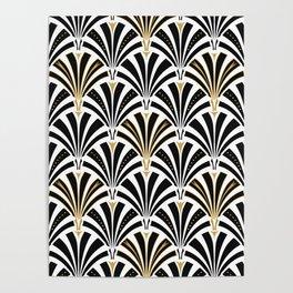Art Deco Fan Pattern, Black and White Poster