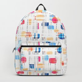 Colorful Abstract Gouache Shapes & Plaid Backpack