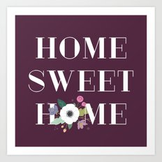 Floral Home Sweet Home - in Plum Art Print