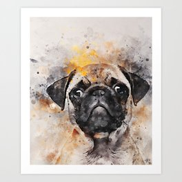 Pug Puppy Using Watercolor On Raw Canvas Art Print
