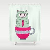 alpaca Shower Curtains featuring Alpaca Mug by Stephanie Keyes Design