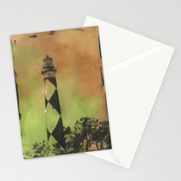 Cape Lookout lighthouse on the Outer Banks, North Carolina.  Watercolor painting of Cape Lookout lighthouse beach artwork home decor lighthouse NC lighthouse painting watercolor Stationery Cards