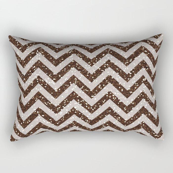 Sparkling brown glitter chevron pattern - coffee IV Rectangular Pillow