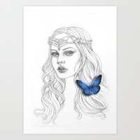 Blue wings of time (without background color) Art Print