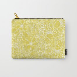 Modern trendy white floral lace hand drawn pattern on meadowlark yellow Carry-All Pouch