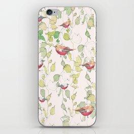 bird surface pattern design - light pastel green (Screen printed) iPhone Skin