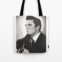 johnny cash Tote Bags featuring Johnny Cash by bellevuetriangle
