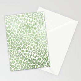 Leopard pattern, faux metallic mint green Stationery Cards
