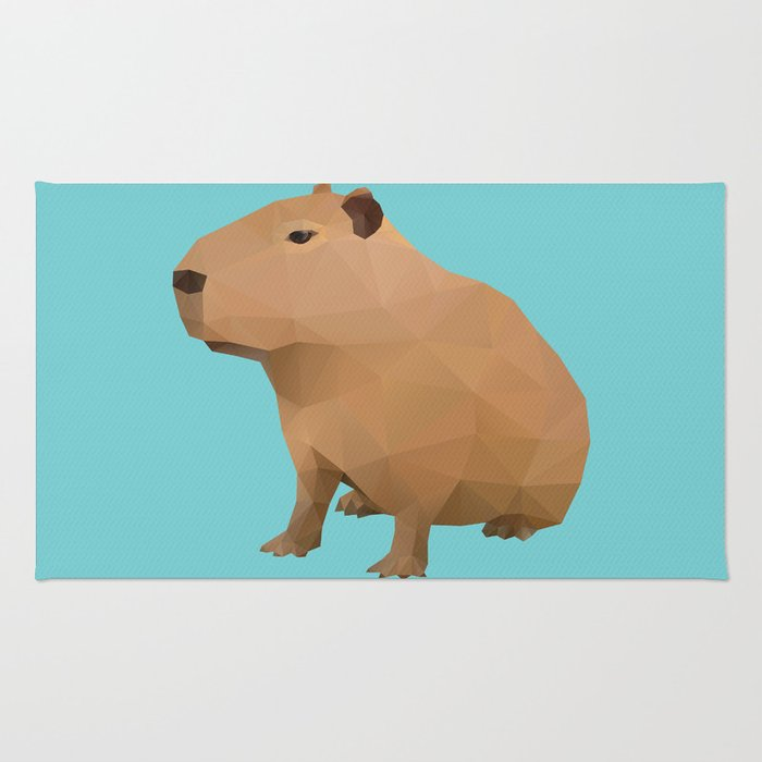 Capybara Polygon Art Rug