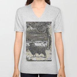 Sheep in a landscape , Richard Roland Holst, 1878 Unisex V-Neck