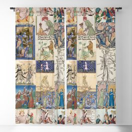 People Getting Stabbed in Medieval Manuscripts Blackout Curtain