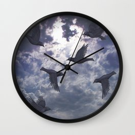 crows in the stormy sky Wall Clock