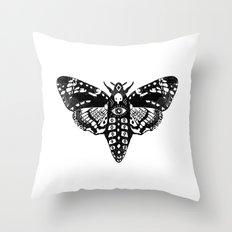 Moth linocut black and white minimal modern art print square moths nature Throw Pillow