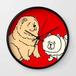 Chow Chow Dog Couple Wall Clock