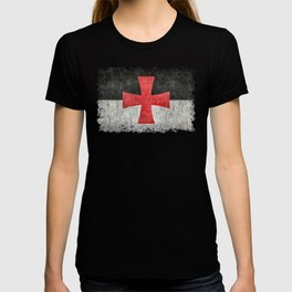 Knights Templar Flag in Super Grunge T-shirt