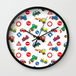 Kid cars, car and machine, tractor Wall Clock
