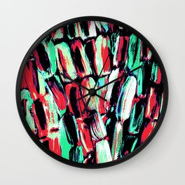 Teal Red Dreams of Sugarcane Wall Clock