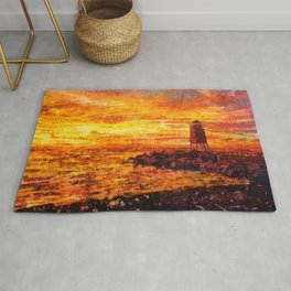 Watercolor batik painting of lighthouse in Charlevoix, MI silhouetted at sunset on Lake Michigan- US Rug