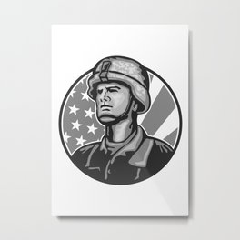 American Serviceman Soldier Flag Grayscale Metal Print