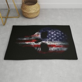 American Flag Punisher Skull Grunge Distress USA Rug