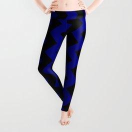 Black and Navy Blue Vertical Zigzags Leggings