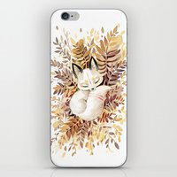 brown iPhone & iPod Skins featuring Slumber by Freeminds