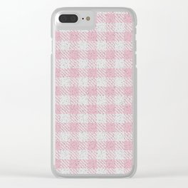 Light Pink Buffalo Plaid Clear iPhone Case