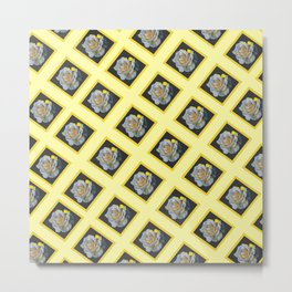 DECORATIVE YELLOW PATTERN OF ROSE FLOWERS Metal Print