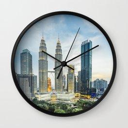 Petronas Towers at Sunset, Kuala Lumpur, Malaysia Wall Clock
