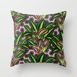 Palm on Polygon Pattern - White Purple Gold Throw Pillow