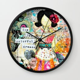 She had Colourful Dreams by Jolene Ejmont Wall Clock