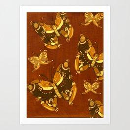 Brown Folk Butterflies Art Print